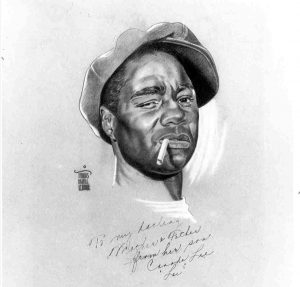 Charcoal drawing of Canada Lee as 'Bigger' in the 1942 Broadway production of Native Son, a play based on Richard Wright's novel, directed by Orson Welles.